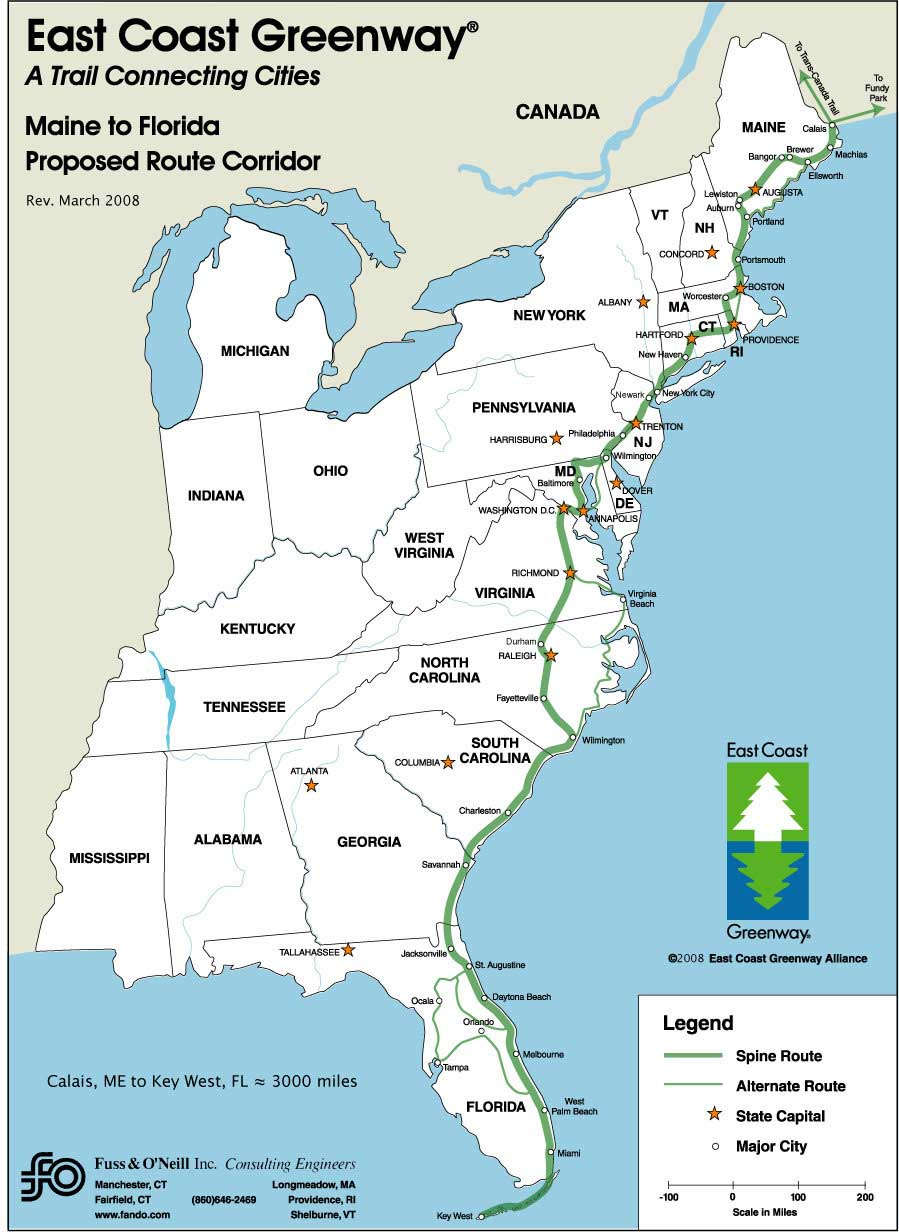 east coast greenway route
