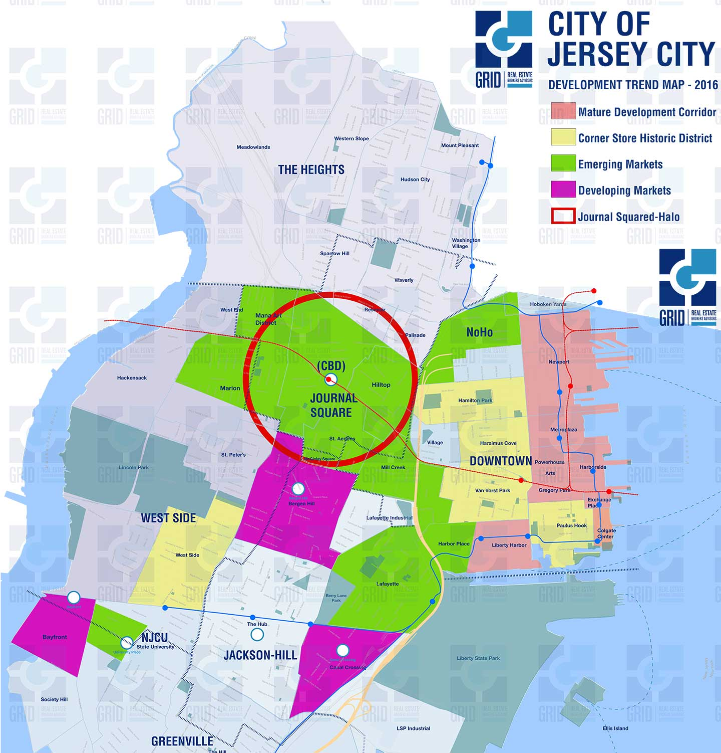 Jersey City Map GRID Real Estate Releases Development Trend Map for Jersey City  Jersey City Map