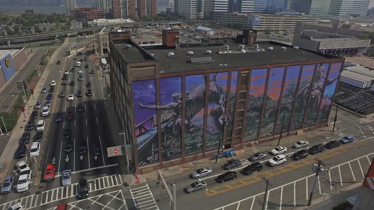 mecca mural distort green villian holland tunnel
