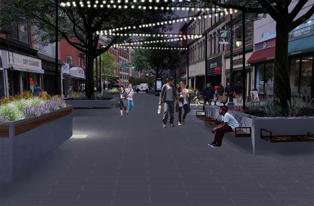 Jersey City Pedestrian Plaza Redesign Rendering Night