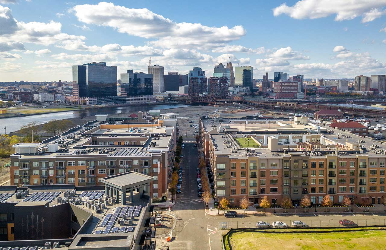 Harrison Riverbend District Newark Skyline
